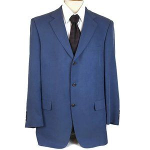 Geoffrey Beene Men Sport Coat Size 42L Blue Silk